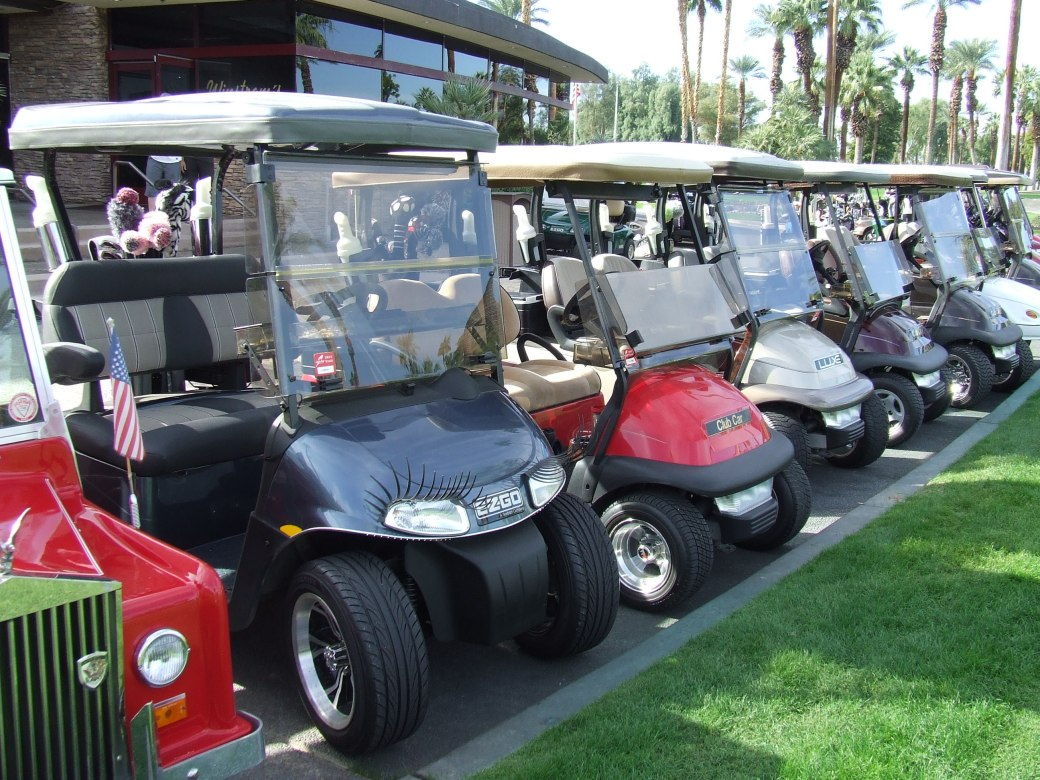 Golf carts at Palm Springs Indian Wells golf course