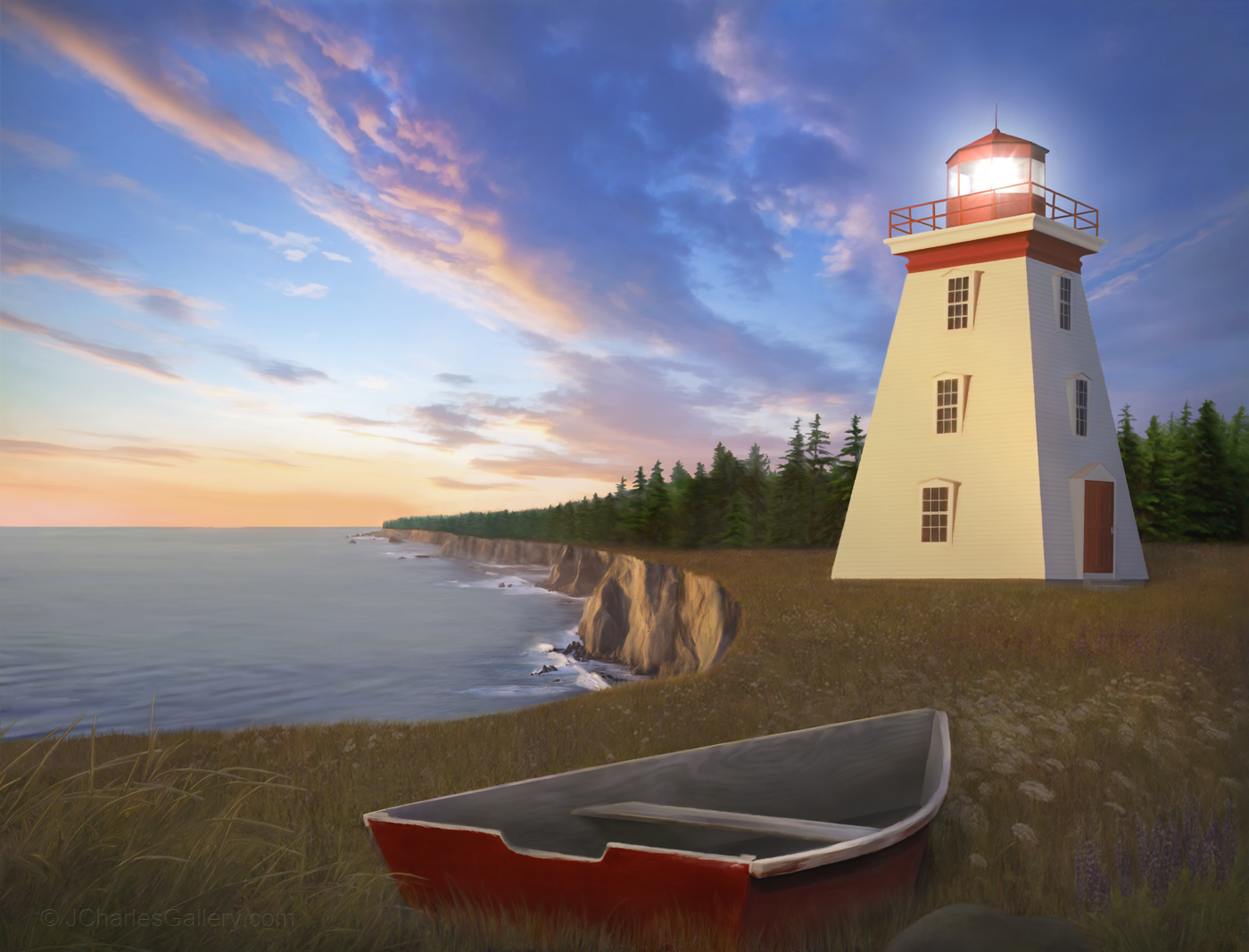 "The ""Cape Bear Light"" painting captures the Cape Bear Lighthouse"