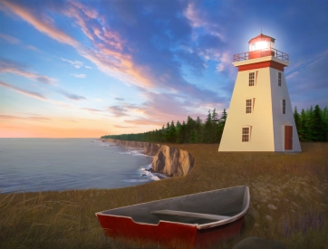 "The ""Cape Bear Light"" painting captures the Cape Bear Lighthouse"