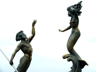 triton and mermaid by carlos espino, 1990